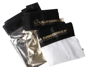 Rentals: Sunbounce Pro 4x6 fabric zebra(gold-silver)/white