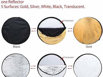 Rentals: Reflector 107cm 5in1: Diffusor, White, Gold, Silver, Black