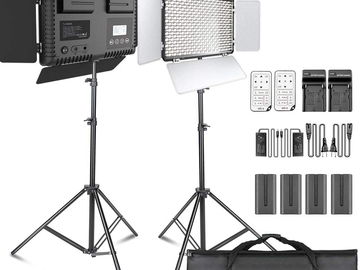 Rentals: SAMTIAN 2 pieces LED Video lights, Dimmable, Bi-colour 600 LED