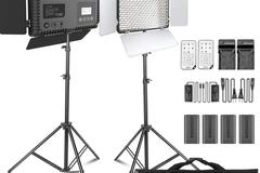 Rentals: SAMTIAN 2 pieces LED Video lights, Dimmable, Bi-colour 600 LED